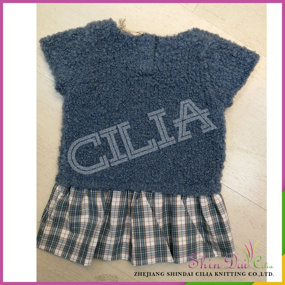 dd14464195 China supplier hot sale 100% cotton baby sweater dresses with woven checked  fabric